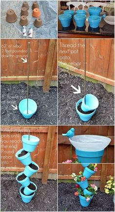Build this beautiful Topsy Turvy planter and bird bath to build the garden . - Build this beautiful Topsy Turvy planter and bird bath to decorate the garden # Build - Garden Yard Ideas, Garden Crafts, Diy Garden Decor, Garden Planters, Garden Projects, Diy Projects, Homemade Garden Decorations, Vegetable Planters, Clay Pot Projects