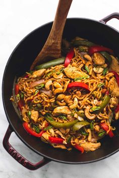 Simple and flavorful one pot cashew chicken ramen is the perfect 30 minute quick fix for your take-out cravings with veggies, chicken, noodles, and a tasty Asian stir fry sauce.