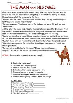 The Man And His Camel Story Reading Comprehension Worksheets Best Picture For Reading Comprehension tips For Your Taste You are looking for something, and it is going to tell you exactly what you are English Stories For Kids, Moral Stories For Kids, English Lessons, Learn English, Stories With Moral Lessons, Short Stories To Read, English Story, Ap English, English Language