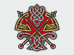 Celtic Axe by Sergey Arzamastsev Norse Tattoo, Celtic Tattoos, Viking Tattoos, Viking Designs, Celtic Designs, Celtic Dragon, Celtic Art, Islamic Art Calligraphy, Calligraphy Alphabet