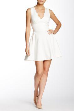 Love...Ady - Scalloped V-Neck Mini Fit & Flare Dress
