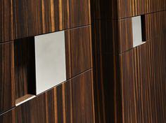 XUS MACASSAR EBONY CABINET - XUS CABINET MIRROR POLISHED STEEL HANDLE DETAIL