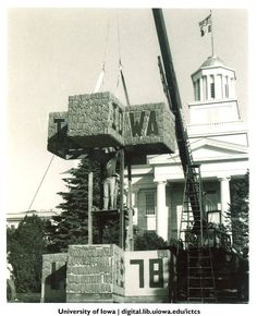 Homecoming corn monument being constructed in front of Old Capitol, 1978 http://digital.lib.uiowa.edu/cdm/ref/collection/ictcs/id/2783