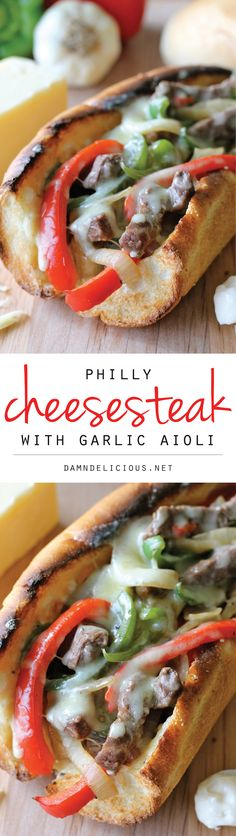 Personalized Graduation Gifts - Ideas To Pick Low Cost Graduation Offers Philly Cheesesteak With Garlic Aioli - You Could Easily Make This Right At Home Without Having To Skimp On The Cheesy, Meaty Goodness Beef Recipes, Snack Recipes, Dinner Recipes, Cooking Recipes, Sandwich Recipes, Recipies, Garlic Aioli, Soup And Sandwich, Cheesesteak