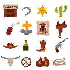 Western cowboys icons vector. Vintage Design. $5.00