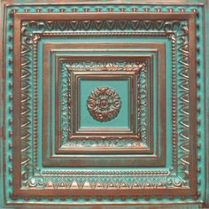 "Brilliance Copper/Patina (24x24"" PVC 20 mil) Ceiling Tile - Drop in Grid or Staple/Glue Application"