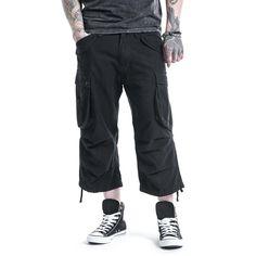 """Pantaloncini 3/4 """"3/4 Vintage Shorts"""" della collezione Black Premium by EMP neri, taglio casual in stile Vintage."""