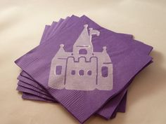 Purple and White Castle Paper Cocktail Napkins by TheFortunateHome, $6.00
