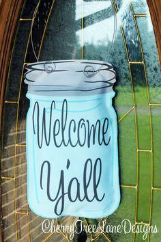 Mason Jar Front Door Hanger Mason Jar By Cherrytreelanedesign 24 99