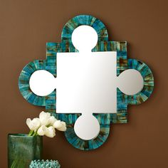 Verdigris Wall Mirror - Bone/MDF/GlassS/2 Lapis Tiles Boxes Bone/Sheesham Wood