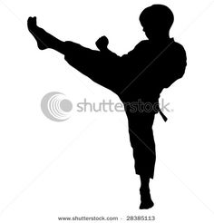 Silhouette of a Boy Child Practicing Karate with a High Leg Kick in a Vector Clip Art Illustration Picture