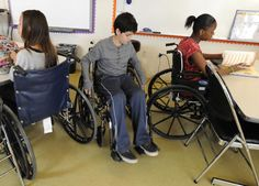 Students at Valley Village school use wheelchairs to empathize with people who have a disabilty