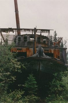 On Hootalinqua Island on the Yukon River there is the abandoned remains of the SS Evelyn, a river paddle steamer that was dragged ashore to be repaired and left there.