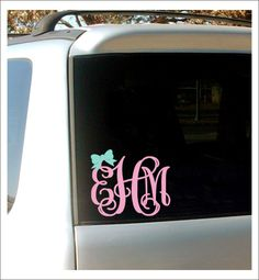 Bow Vine Monogram Decal Car Decal Preppy by CustomVinylbyBridge