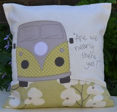 Discover a beautiful curated collection of bespoke freehand stitched textile applique gifts. Applique Cushions, Patchwork Cushion, Sewing Pillows, Applique Patterns, Applique Designs, Sewing Patterns, Fabric Scraps, Scrap Fabric, Volkswagen