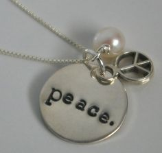 Peace Sign Necklace, Sterling Silver Charm Necklace, Hand Stamped Jewelry, SURRENDER by E. Ria Designs. $35.00, via Etsy.