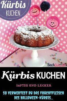 Rezept für einen saftigen und leckeren Kürbis-Kuchen. Die perfekte Verwertung für das Fruchtfleisch des Halloween-Kürbis. #kürbis #kürbiskuchen #kürbisrezept #halloweenrezept #kuchen #backen #backenherbst #herbstrezepte Gaudi, Doughnut, Desserts, Food, Cake Baking, Meat, Pumpkin Ideas, Tailgate Desserts, Deserts