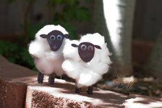 These adorable cotton ball sheep stand up on their own. So perfect for spring!