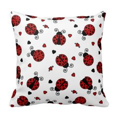 lady+bug+pillows | Cute Ladybug and Hearts Pattern Pillows