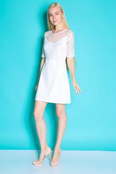 Sweetheart Lace Panel Dress (White) SGD$ 39.00