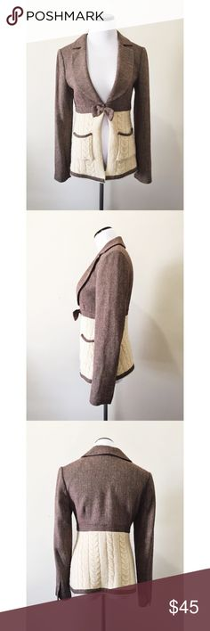 """Boston Proper Herringbone Cabled Sweater Blazer This romantic blazer combined with a cozy cable knit sweater looks sweet and smart over dresses or skinny pants. The sweater material is showing some fuzzing, which could be easily removed. Otherwise in excellent condition with no stains or tears. Hook and eye closure. Partially lined.   Bust: 14.5"""" Waist: 14"""" Length: 24""""  Shell: 79% Rayon / 21% Wool Lining: 100% Acetate Boston Proper Jackets & Coats Blazers"""