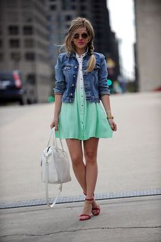 bright wedge sandals with a playful shift dress and jean jacket