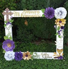 Now you can sponsored quinceanera dresses Communion Centerpieces, First Communion Decorations, First Communion Favors, First Holy Communion, Photo Booth Frame, Picture Frame, How To Make Paper Flowers, Flower Shower, Boy Baptism