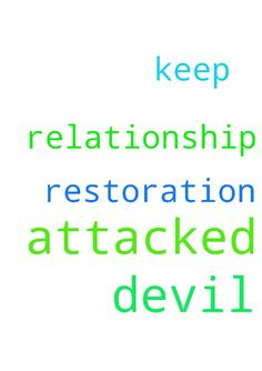 My relationship is being attacked by the devil keep me in prayers -  I need restoration  Posted at: https://prayerrequest.com/t/Osr #pray #prayer #request #prayerrequest