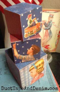 Patriotic Blocks made with vintage children's illustrations. More ideas for patriotic decorations on DuctTapeAndDenim.com  #patrioticdecor #4thofJulycrafts #patrioticcrafts #redwhiteandblue #crafts #crafting #repurpose #upcycle