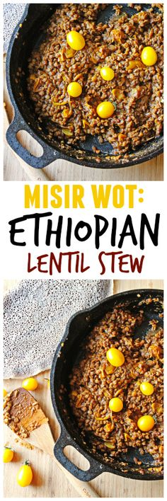 Misir wot is an Ethiopian lentil stew made with berbere, an Ethiopian chile powder! Lentils are a common food in Ethiopian cuisine Lentil Recipes, Vegetarian Recipes Dinner, Spicy Recipes, Vegetable Recipes, Vegan Recipes, Cooking Recipes, Entree Recipes, Chili Recipes, Yummy Recipes