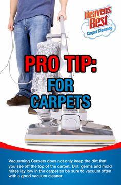 Pro Tips are useful information for taking care of your carpets yourself. Visit us online at: http://saltlakevalleyut.heavensbest.com