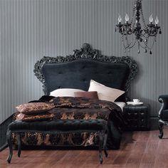 Image Detail for - ... stripes ornate bed black plush velvet damask gold linens chandelier