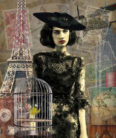 To the Four Corners of the Globe.  #collage #digital #art #vintage #photo #willy #vanderperre #model #jacquelyn #jablonski #v #magazine #travel #eiffel #empire #state #building #plane #globe #bird #cage #steam #luggage #hat #chanel #stamps #Leonardo #Bazaart #Suzette