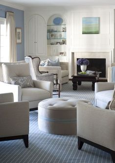 Kate Singer.  Living room traditional off white and pale blue