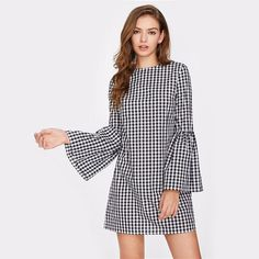 online shopping for Floerns Women's Bell Long Sleeve Shift Gingham Dress from top store. See new offer for Floerns Women's Bell Long Sleeve Shift Gingham Dress Casual Dresses For Women, Short Dresses, Dress Long, Top Mode, Vestido Casual, Gingham Dress, Mod Dress, Plaid Dress, Ruffle Dress