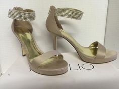 Tevolio Myra Formal Shoes Champagne Heels Shoes Silver Diamond Size 7.5 #Stilettos