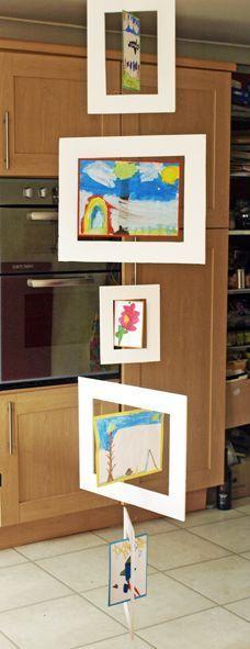 Children's Artwork Mobile / Mobiel kinder kunstwerkjes School Displays, Classroom Displays, Kids Art Galleries, Arte Elemental, Childrens Artwork, Tree Artwork, Ecole Art, Preschool Art, Art Activities