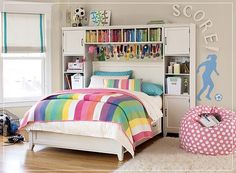 decorating ideas for girls bedroom - like the shelves aroung the headboard!