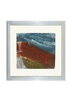 Aviva Stanoff One-of-a-Kind Handpainted Blue, Orange & Green Framed Lithograph