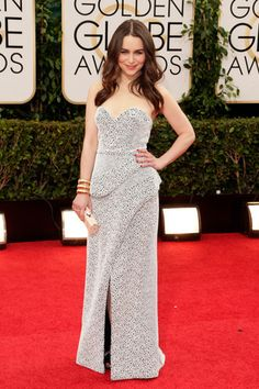 The Golden Globes 2014- Emilia Clarke — From far away, this Proenza Schouler is a classic, pretty dress (nothing wrong with that!). Up close, the structured gown features a pebbled, spongy, whimsical print. #MyGirl #Khalisi