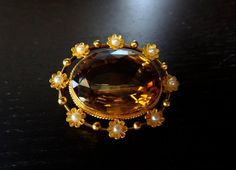 Antique Victorian 15K Gold Large Citrine Pearl by ArtifactJewels, $590.00