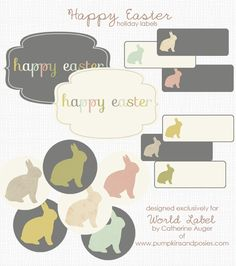 Download these really cute bunny designed labels for your Easter Holidays. This collection was designed by @Catherine Auger