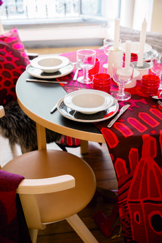 #marimekkofw16 #marimekkohome #milandesignweek16 www.marimekko.com Scandi Dining Table, Dining Room, Textiles, Textile Patterns, Nordic Christmas, Winter Solstice, Marimekko, House Colors, Finland