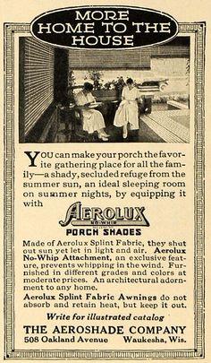 1916 Ad Aeroshade Waukesha Porch Shade Home Fabric - ORIGINAL ADVERTISING TIN2
