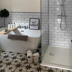 "Walls and Floors on Instagram: ""David transformed his bathroom with a classic pairing of white metro tiles and star studded Scintilla Tiles! 🚿🙌 • • • • #tiles #tile…"""