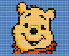 Disney's Whinny the pooh rendered in tiles. Whinny the Pooh Silly Old Tile Melty Bead Patterns, Bead Loom Patterns, Cross Stitch Patterns, Pixel Crochet Blanket, Kids Cartoon Characters, Perler Bead Disney, Kawaii Diy, Winnie The Pooh Friends, Cross Stitch For Kids