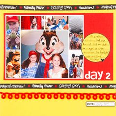 Design by Tracy Kyle Template: Quick Collage 108 How she used it: Instead of using the entire photo collage, Tracy cut off the lower frame, choosing instead to feature seven of her favorite photos. Make the scrapbook page: Tracy attached her photo collage to a large red cardstock block and added a journaling spot and title. Felt trim, themed ribbon, and a date block finish the scrapbook page.  SOURCES: Cardstock: DMD (red), WorldWin (yellow). Stickers: Doodlebug Design (mouse ears)…