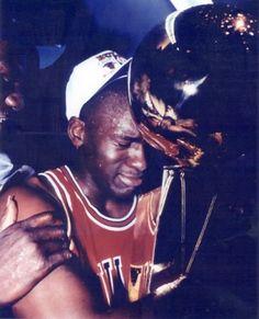 Michael Jordan getting emotional after winning NBA Championship.