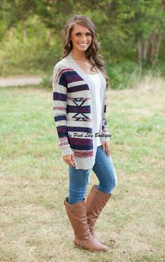 The Pink Lily Boutique - Attention Seeker Aztec Cardigan , $39.00 (http://thepinklilyboutique.com/attention-seeker-aztec-cardigan/)