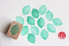 leaf hand carved rubber stamp. woodland stamp. wedding guestbook tree. birthday card making. scrapbooking. bridal gift wrapping. mounted